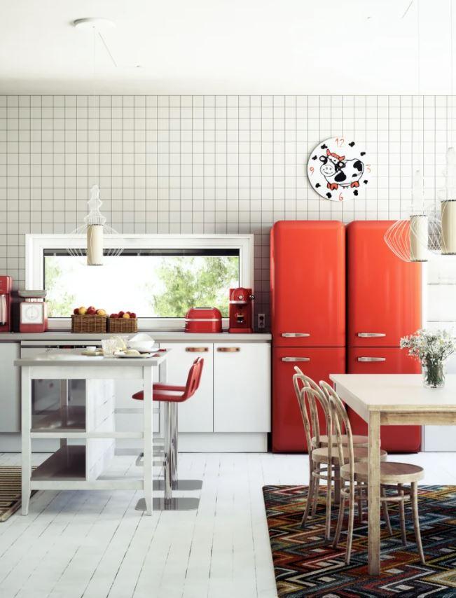 cocinas pequeñas en color rojo