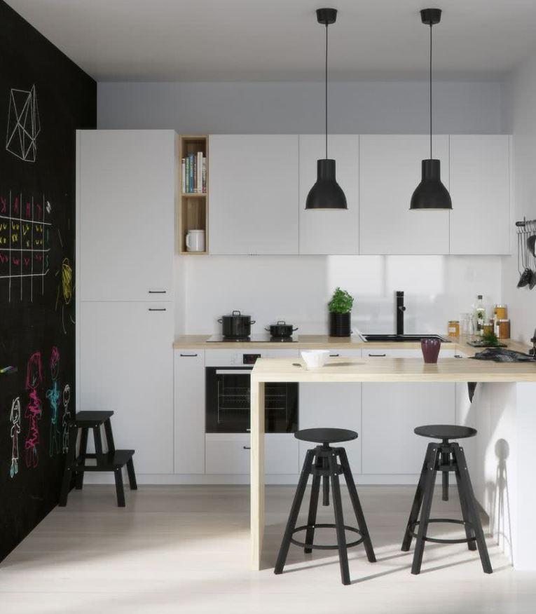decoracion de cocina pequeña blanco y negro