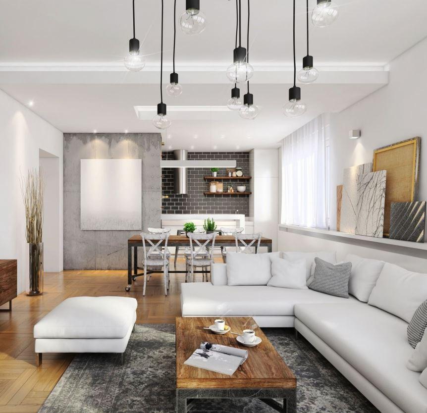 salones modernos blanco y gris