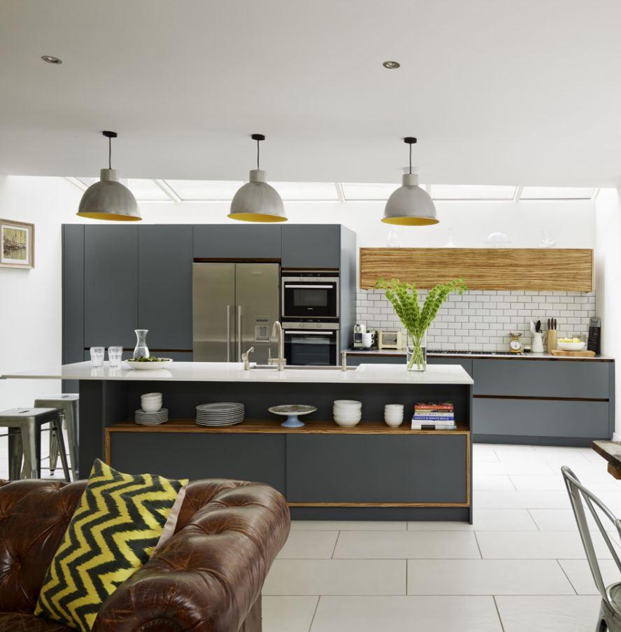 cocina abierta al salon estilo nordico