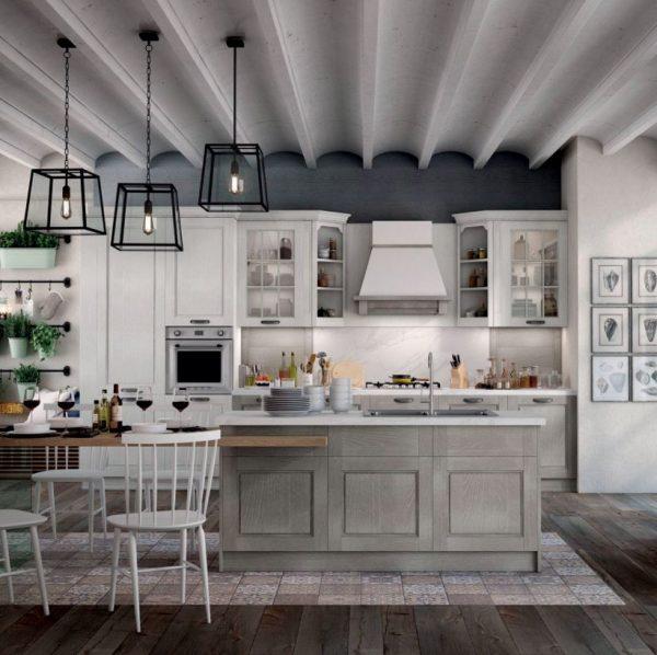 cocina blanca encimera de madera