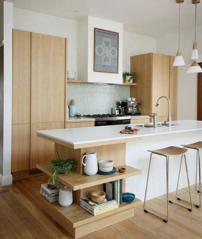cocinas blancas y color madera