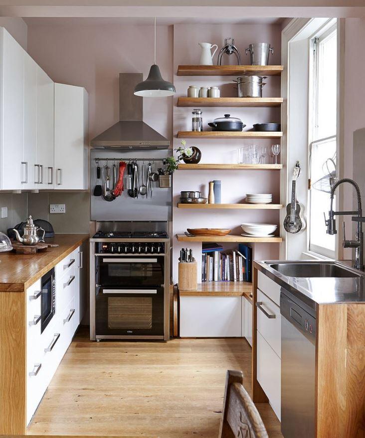como decorar una cocina de madera pequeña