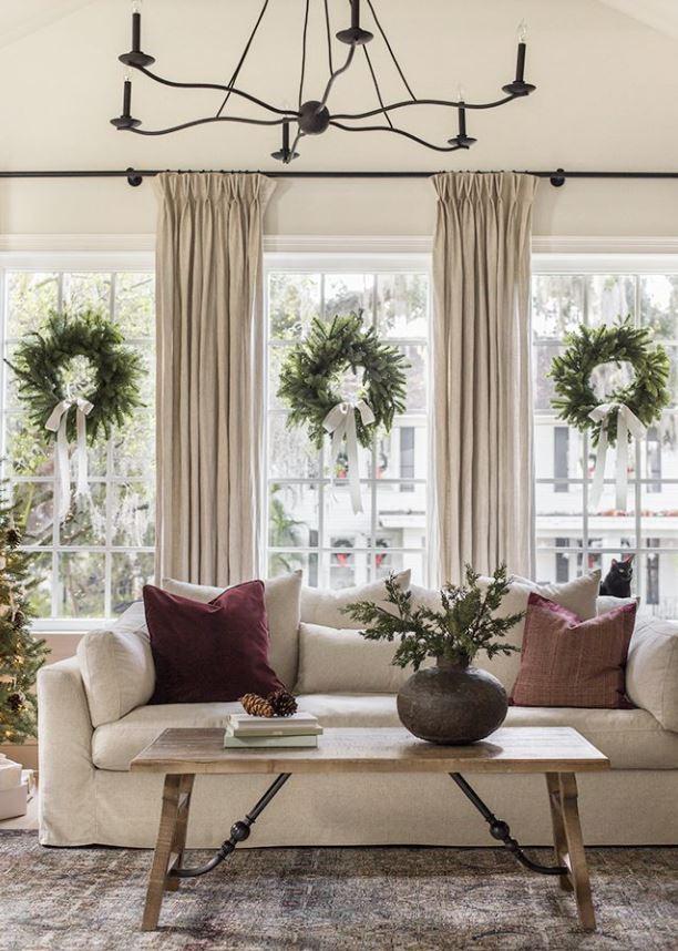 coronas de navidad con flores naturales