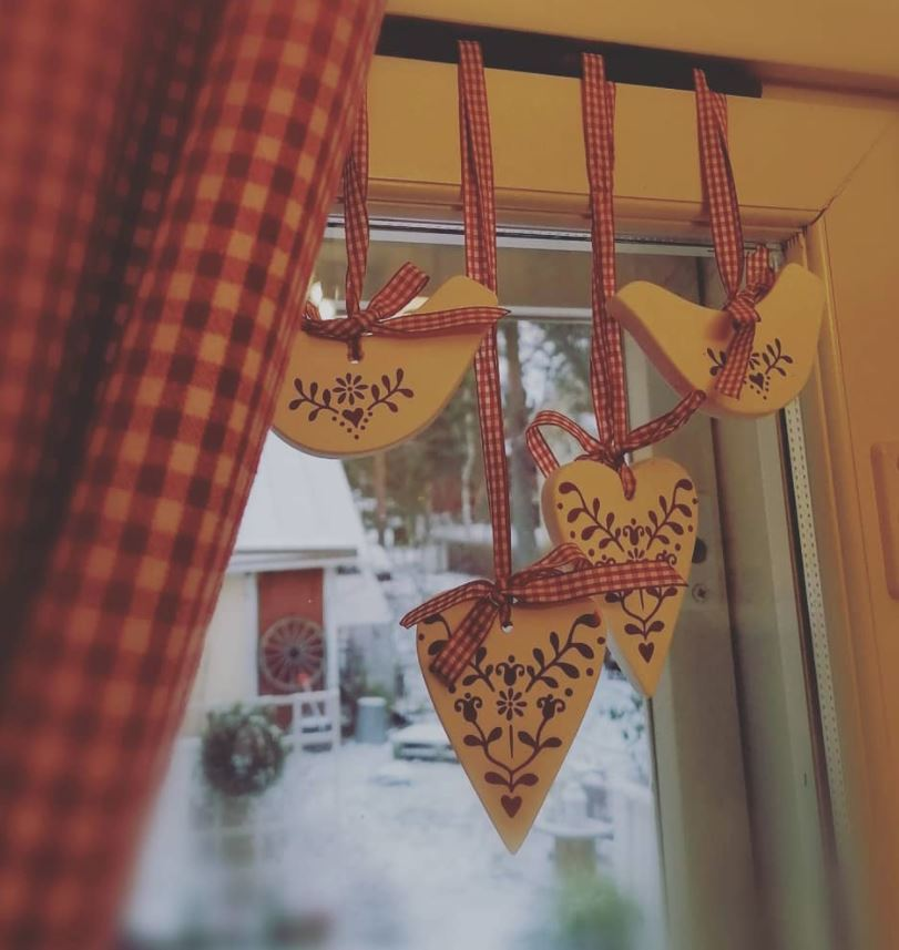 cortina navideña para ventana
