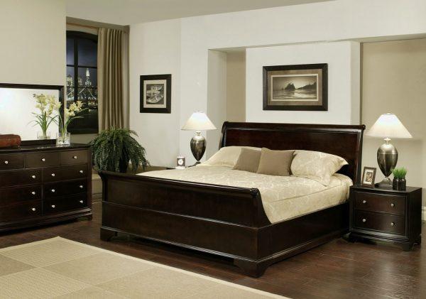 decoración de dormitorios de matrimonio muebles oscuros