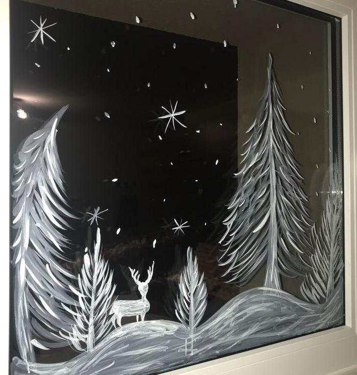 decoracion de ventanas navideñas con pintura