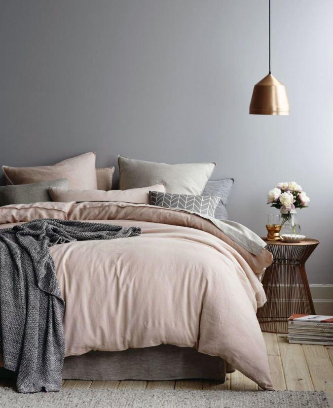 dormitorio minimalista pared gris
