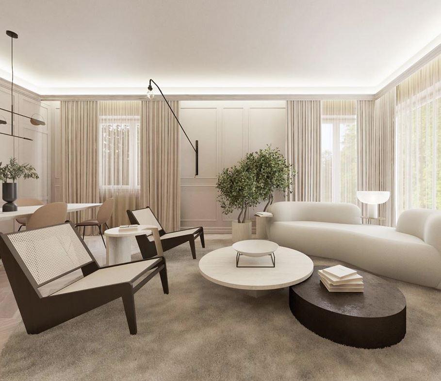 paredes blancas muebles oscuros