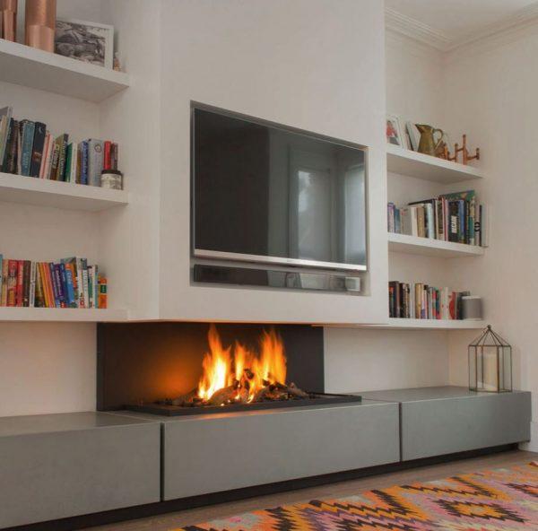 sala de estar moderna con chimenea