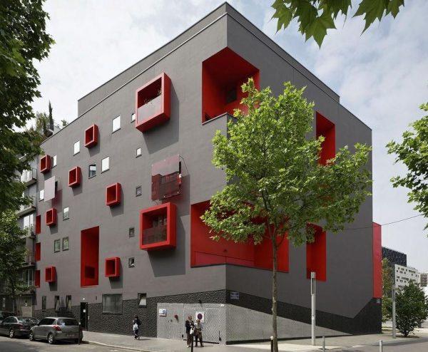 colores de fachadas de edificios modernos