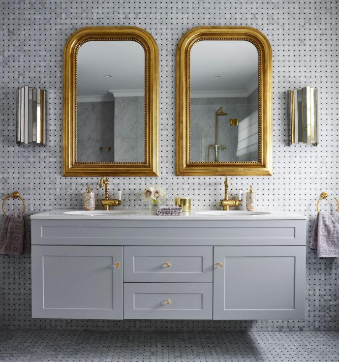 espejos dorados de baños