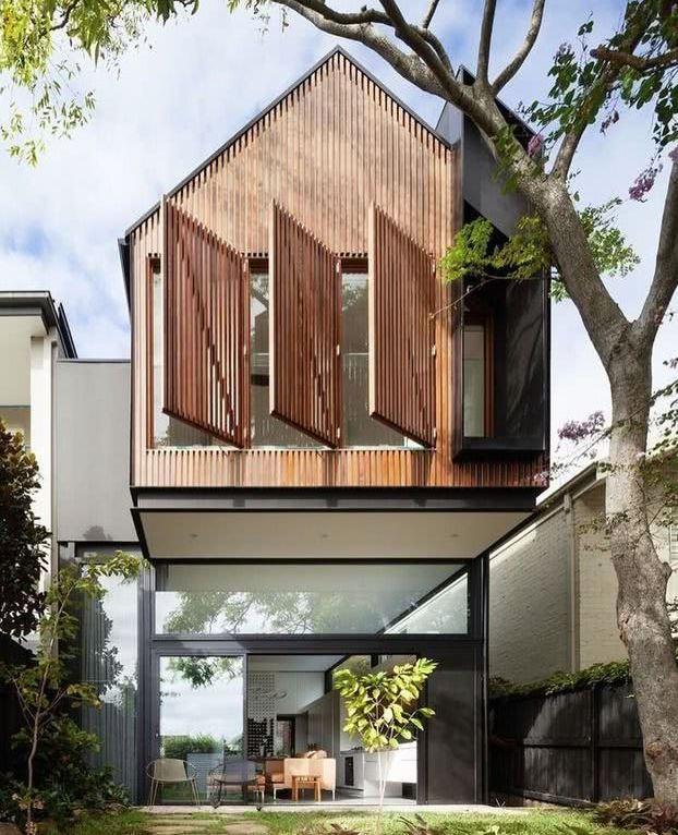 fachada de casas modernas en madera