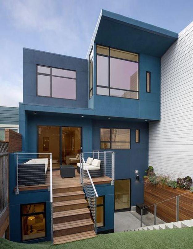 fachadas de casas colores vivos