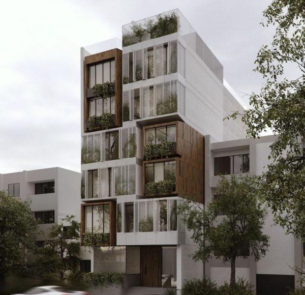 fachadas de casas modernas de 5 pisos