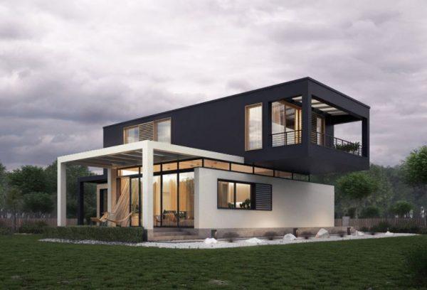 fachadas modernas blanco y negro