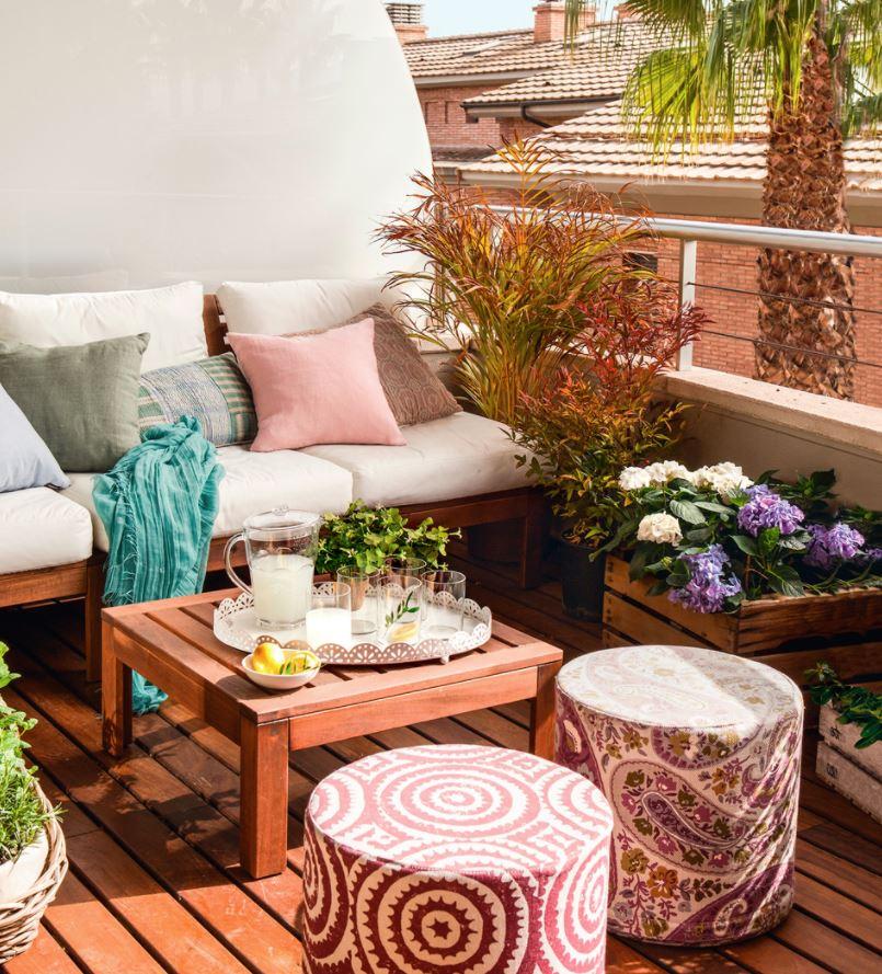 terraza pequeña moderna decorada