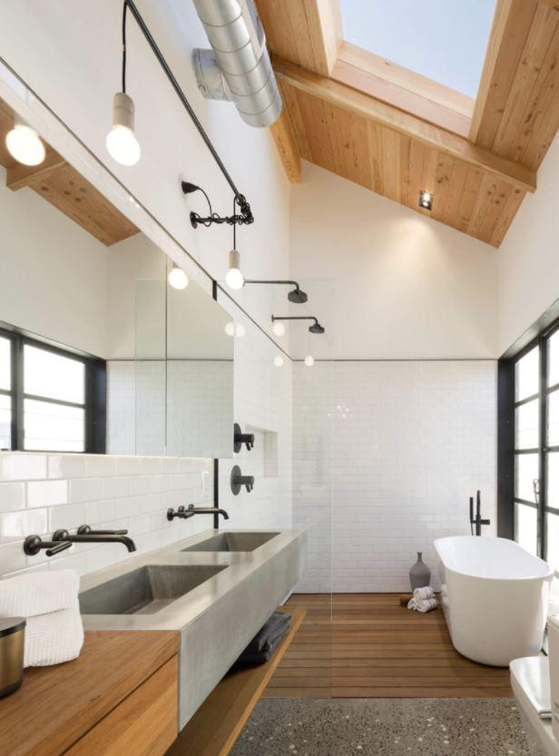 baño lujo madera