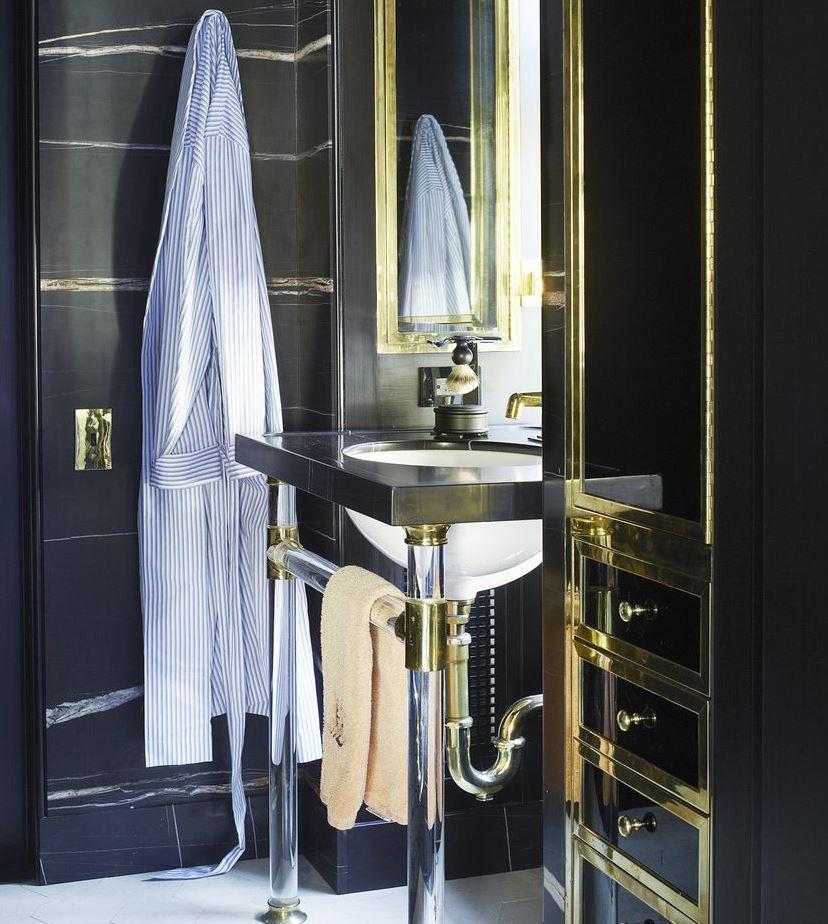 baños pequeños modernos oscuros