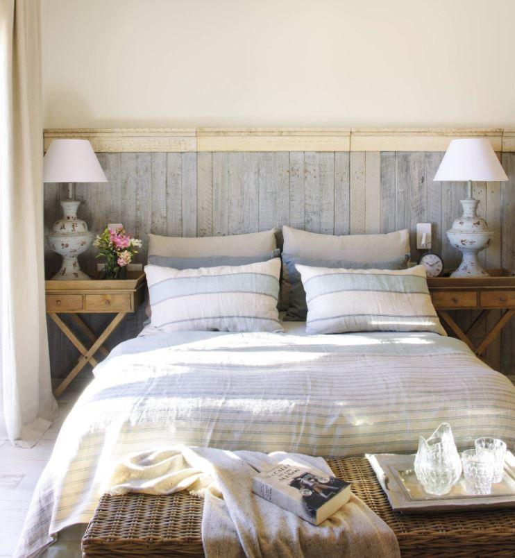 cabecero cama listones madera