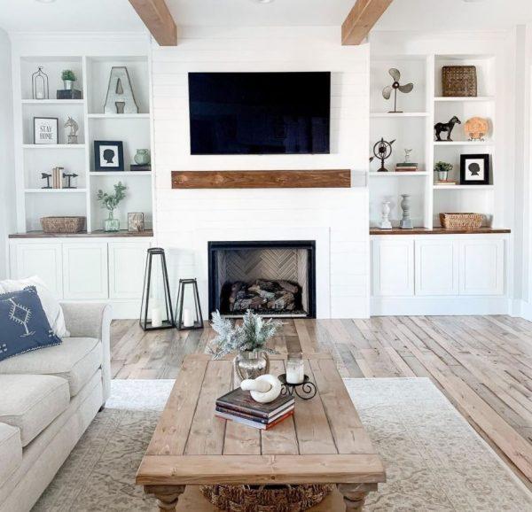 decoracion salon rustico blanco