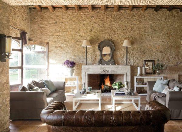 decoracion salon rustico con chimenea