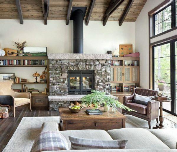 decorar un salon rustico grande moderno