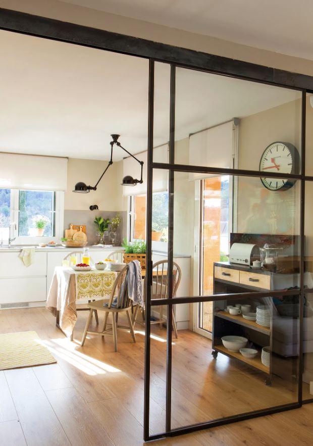 puertas de madera cristal para cocina
