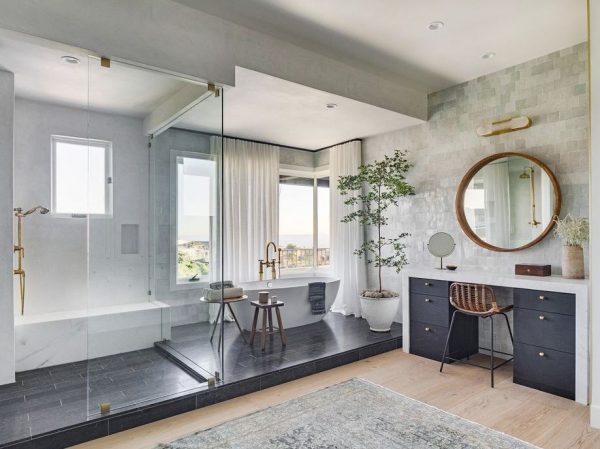 tocador de baño con espejo