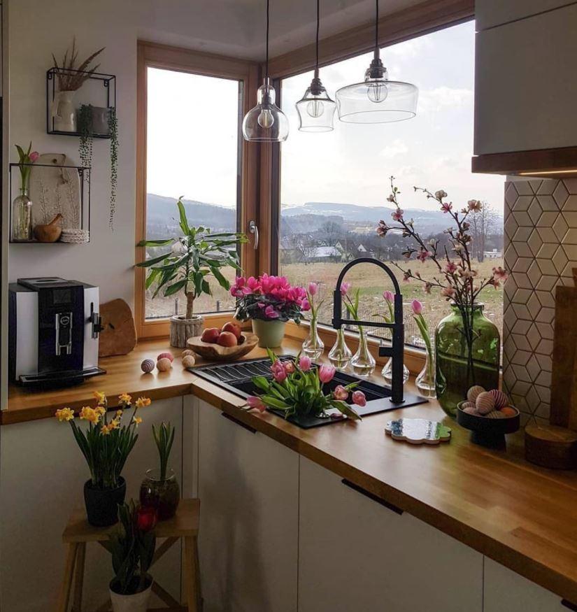 cocina rustica con encimera de madera