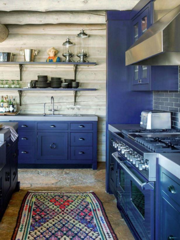 cocina rustica en color azul