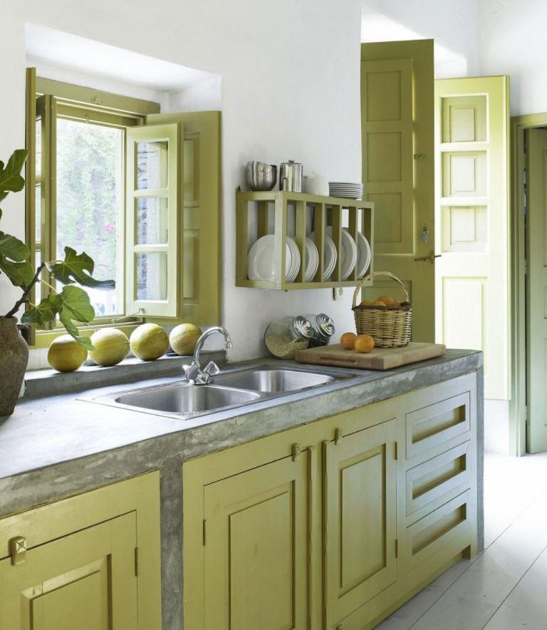 cocina verde estilo rustico