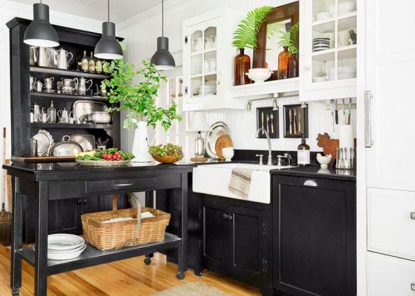cocinas en blanco y negro rusticas