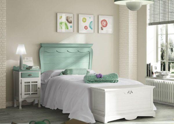 dormitorio original blanco y verde