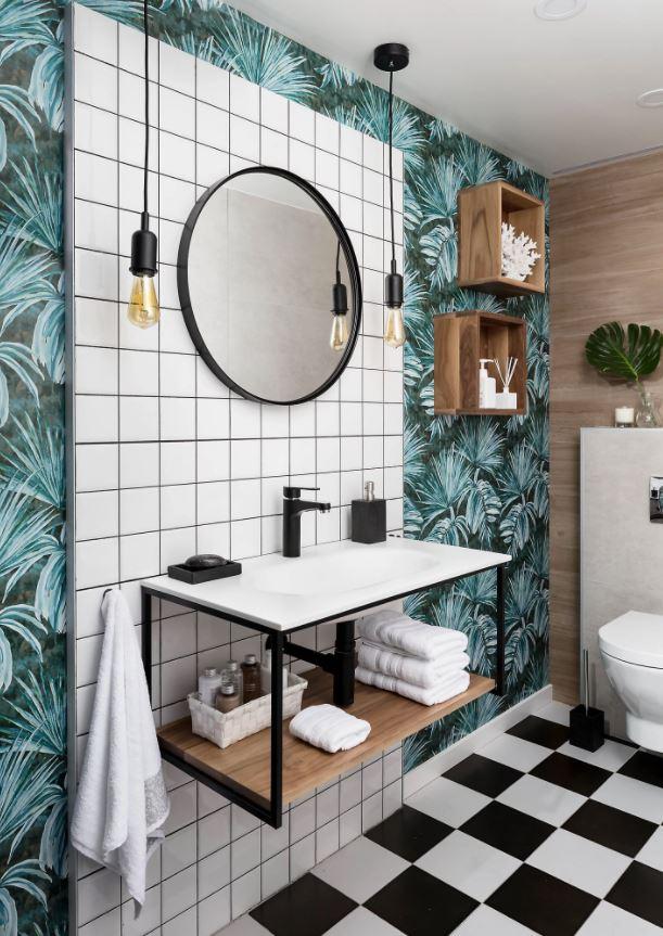 lavabos con papel pintado