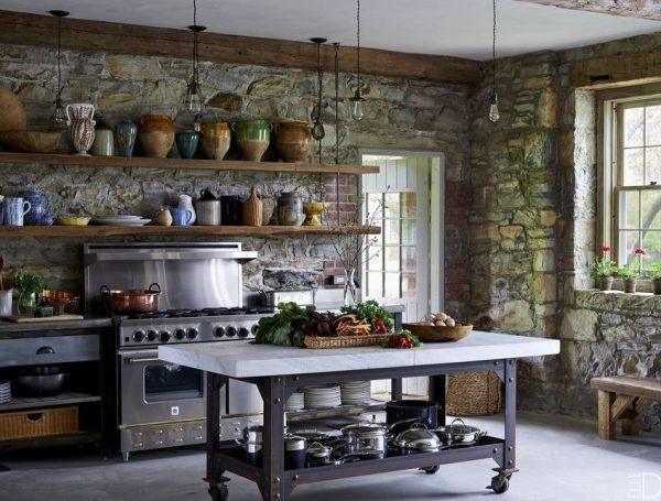 que pared poner en la cocina rustica