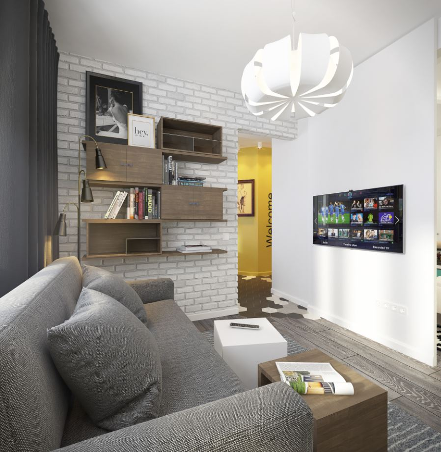 tv colgada pared salon