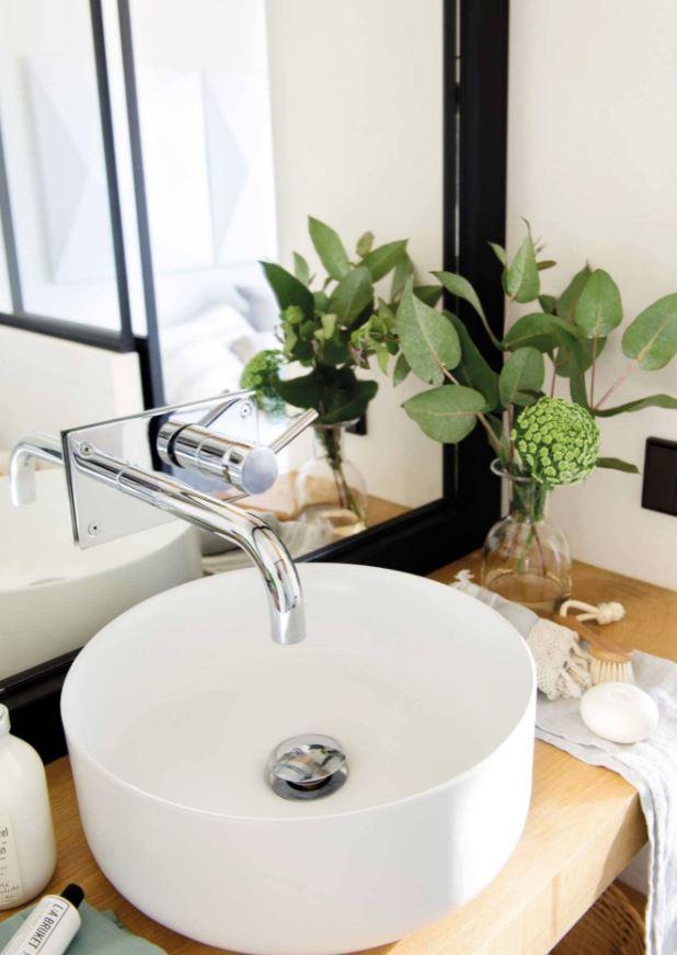baño con plantas decorativas