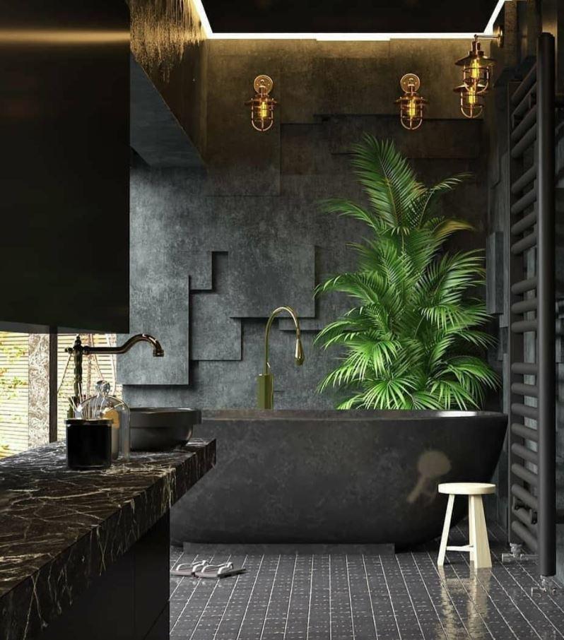 baño moderno con bañera con plantas