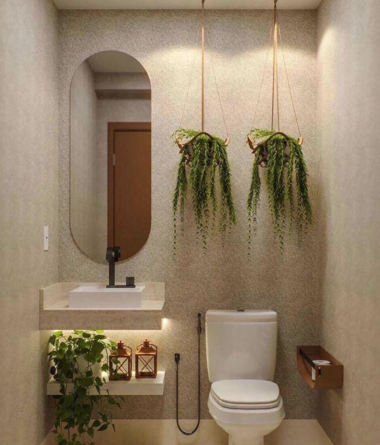 colgar plantas en baños