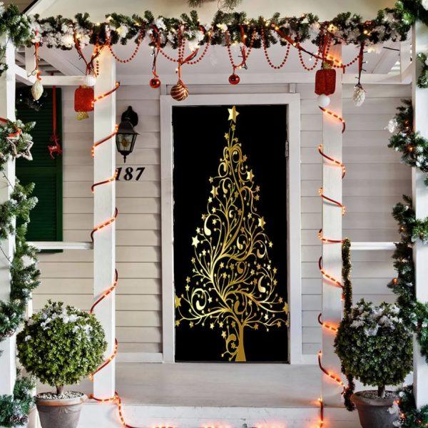 arbol de navidad en la puerta