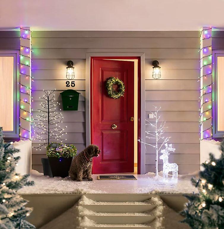 corona navidad puerta
