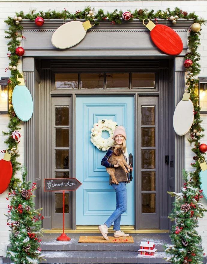 decoracion puertas navideñas guirnaldas