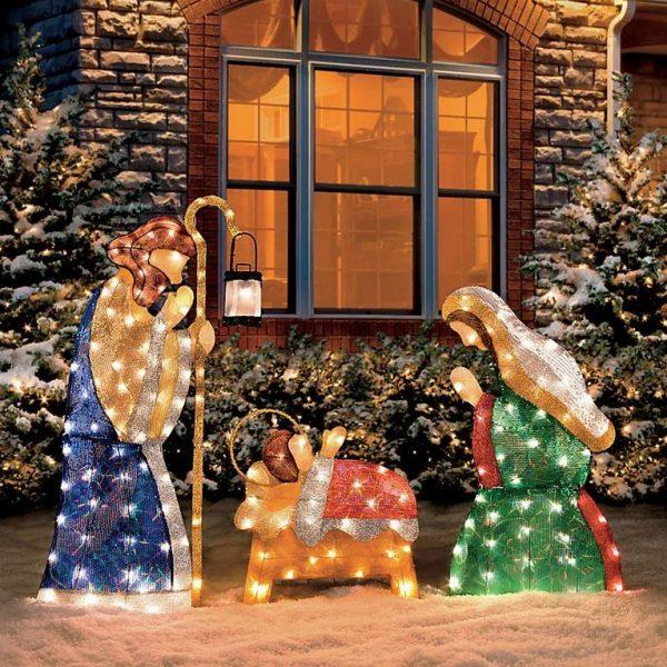 pesebre original exterior casero luces
