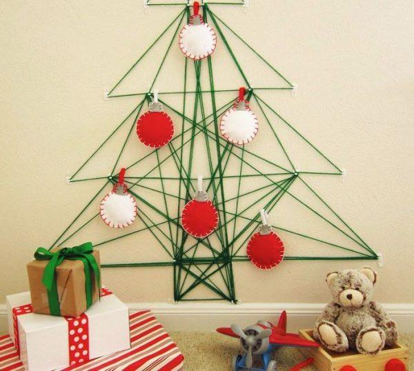 árbol de navidad pared cuerdas