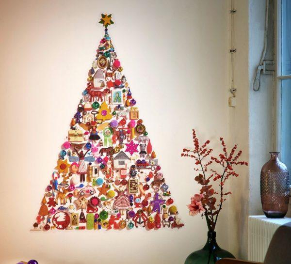 árboles de navidad en pared ornamentales