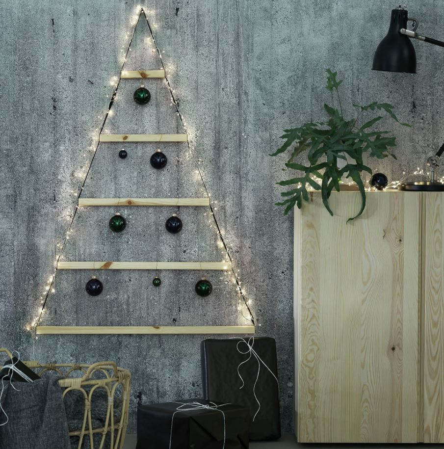 arbol de navidad madera pared
