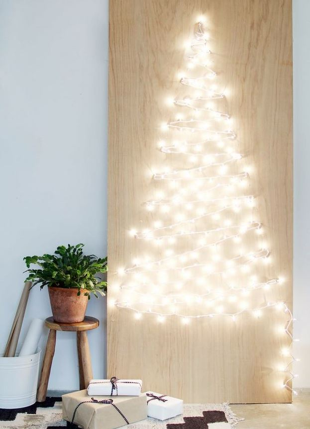 arbol navidad pared luces