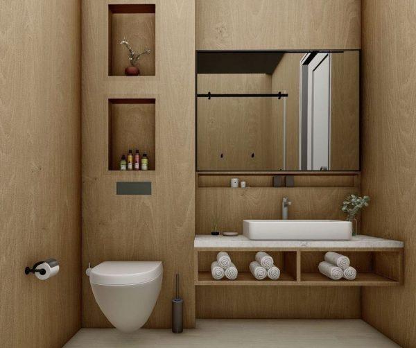 baño de madera sin ventana soluciones