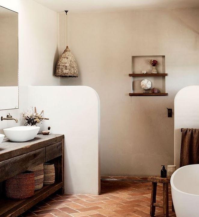 baño rustico con ducha
